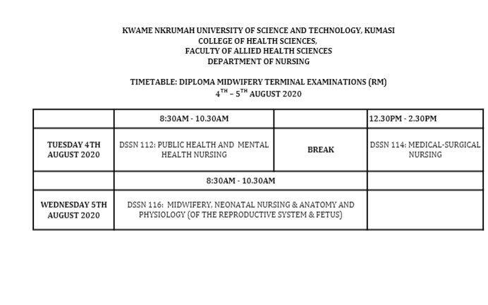 KNUST Examination TimeTable For Nurses And Midwives 2020