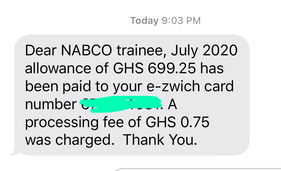 NABCO July 2020 Allowance Duly Paid